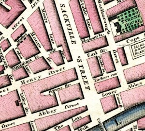 Dublin in 1798: Coles Lane parallel to Moore Street.